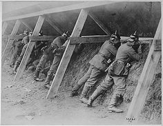 Picture of German World War I soldiers in their trenches.