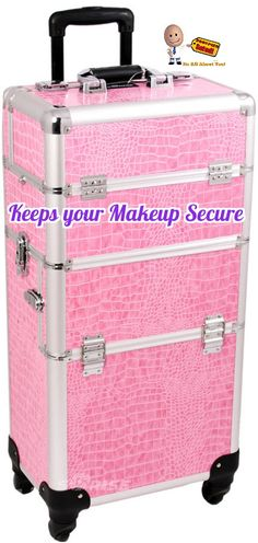 b633dc3785 This beautiful rolling makeup case has Pink crocodile printing texture with  silver aluminum trimming along with