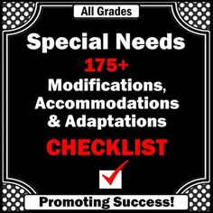 Special Education: In this 15 page special education document, you will receive a checklist of more than 175 special education accommodations, modifications and adaptations to use in any classroom.  https://www.teacherspayteachers.com/Product/Special-Education-778699