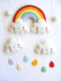 PDF pattern - Rainbow and clouds baby crib mobile - Felt mobile ornaments, easy sewing pattern by ronisilver