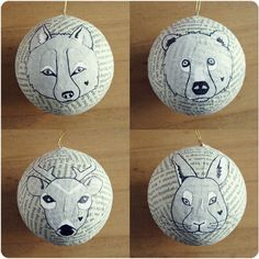christmas-craft-paint-ornaments - using any recycle ball shape(old ornaments, old toys), decoupage layer in printed text from newspaper or magazine, old wrapping paper (recycle) paint are to pen in animal face.