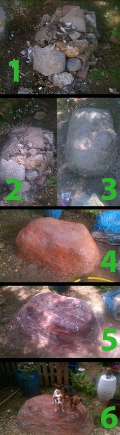 This is a stunning DIY rock craft. Outdoor Crafts, Outdoor Projects, Garden Projects, Outdoor Landscaping, Outdoor Gardens, How To Make Rocks, Grandmas Garden, Papercrete, Concrete Projects