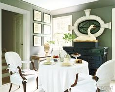 great use of vintage window, dining room