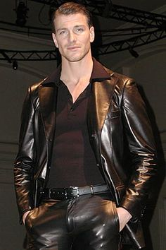 Hot guy in black leather pants and black leather blazer http://liamhubpages.hubpages.com/hub/Best-Mens-Leather-Blazers