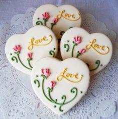 Cottage Rose Heart by LindasEdibleArt on Etsy