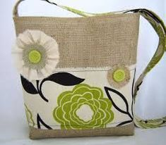Green and Black Floral Canvas and Burlap by BeauteousDesign Hessian Bags, Jute Bags, Bag Quilt, Handmade Handbags, Bag Patterns To Sew, Coordinating Fabrics, Denim Bag, Quilted Bag, Green Bag