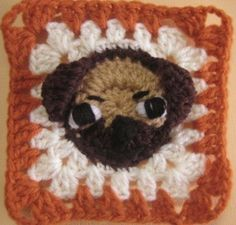 Pug rugalugs square crochet pattern. by crochetroo on Etsy, $3.50