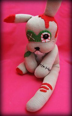Benji The Zombie Sock Bunny - Halloween Handmade Plush/Toy/Doll. $38.00, via Etsy.