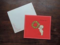 $6.00 - Vintage Rose O'Neill Kewpies Christmas Card - 'Deck The Halls . . . ' 1970s  by dandelionvintage