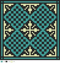 Turqoise and yellow tile cross stitch chart / cross stitch pattern - but may also be used for: crochet, knitting motifs, knotting, loom beading, Perler beading, weaving and tapestry design, pixel art, micro macrame, friendship bracelets, and anything involving the use of a charted pattern.