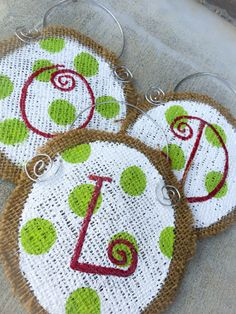 Mark your familys stockings with a custom monogram! Hand painted burlap stocking markers add charm to your mantle. Can also be used as a gift tag or ornament!