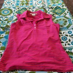 NIKEGOLF woman's drifit shirt, sz small, nwot NIKEGOLF drifit woman's shirt, size 4-6 pink with blue stripes. NWOT Nike Tops