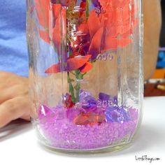 He Dumps Purple Rocks Into A Mason Jar. When I See What He Puts In Next? I Want One! Home Aquarium Fish, Fish Home, Mason Jar Photo, Mason Jar Diy, Saltwater Tank, Saltwater Aquarium, Betta Fish Tank, Fish Tanks, Aquarium Gravel
