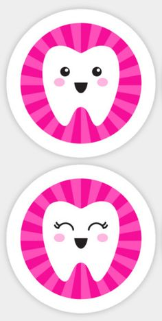 Cute tooth on hot pink sunburst background. Set of four stickers. Dental vinyl decals. Kawaii teeth stickers