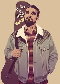 Khal Drogo as a hard rock musician vector illustration