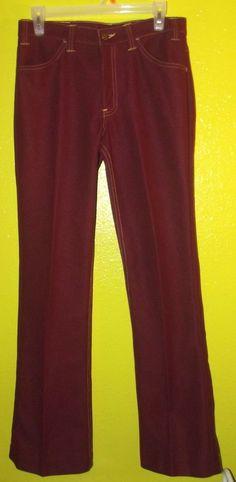 be150e7ee780 Vintage 70 s Men s Disco Era LEVI S Burgundy Polyester Pants Jeans 30