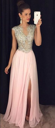 Sparkly A-line Pink Prom Dresses with Side Slit,Prom Dress,Long Chiffon Prom Dresses,Cap Sleeves Prom Gown,Senior Prom Dress