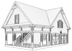 Garage with Storage Above - 20052GA | CAD Available, Narrow Lot, PDF | Architectural Designs