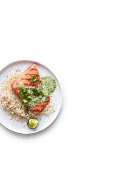 Salmon with Coconut Lime Cilantro Sauce | Mustard seeds add flavor and crunch to this sauce, inspired by Samin Nosrat's Indian chutney in her new book, Salt, Fat, Acid, Heat: Mastering the Elements of Good Cooking (Simon & Schuster, $35). We love it on salmon, with spiced coconut rice (basmati rice mixed with toasted mustard seeds and unsweetened shredded coconut). Wine pairing: La Follette 2014 Chardonnay (North Coast; $22).