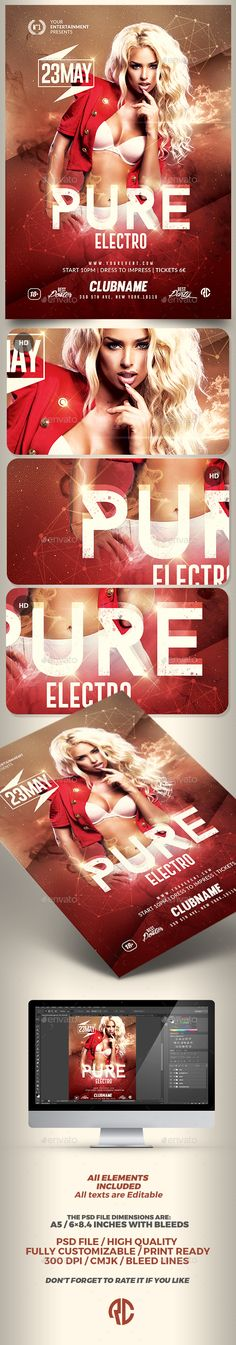 Pure Electro Flyer | Psd Template v2 - Clubs & Parties Events