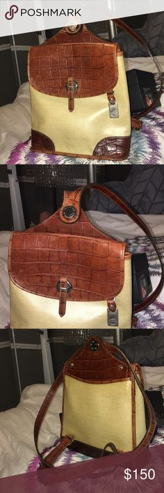 Dooney & Bourke vintage backpack Dark brown leather with cream surround  I've had this for a long time but I've never been able to use it Dooney & Bourke Bags Backpacks