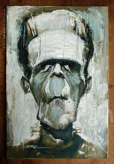 Frankenstein oil painting caricature by © Jeff Stahl dA and Pheed watermark Beetlejuice, Rennes France, Horror Monsters, Scary Monsters, Famous Monsters, Bride Of Frankenstein, Frankenstein Pictures, Halloween Painting, Classic Monsters