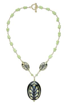 Jewelry Design - Single-Strand Necklace with Cloisonné Beads and Focals, Chalk Turquoise Gemstone Beads and Celestial Crystal® Beads - Fire Mountain Gems and Beads