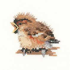 Sparrow – Little Friends Cross Stitch Kit By Heritage Crafts