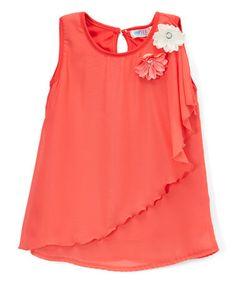 Look what I found on #zulily! Coral Chiffon Ruffle Tank - Toddler & Girls #zulilyfinds