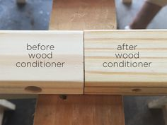 Use wood conditioner before staining wood furniture to properly prepare the surface and help the grain open up to absorb stain more evenly | A DIY Ikea Tarva Dresser for our Modern Kid | RatherSquare.com