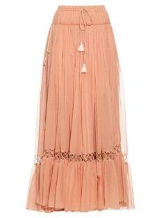 Silk-crepon drawstring maxi skirt  | Chloé | MATCHESFASHION.COM UK