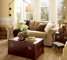 Love this cozy room. Pearce Upholstered Sofa   Pottery Barn.
