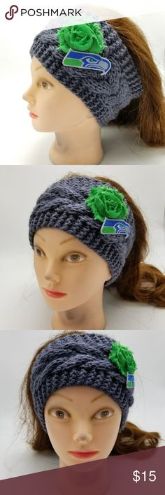 "Seattle Seahawks Headband NFL Seahawks Football 12 You will receive exactly what is pictured.  Handmade item from Puyallup, WA, USA. Item is 100% acrylic, exclusive of flowers and ribbon.  Approximate height is 4"" tall. Material is stretchy and one size fits most women.  Product Care Instructions: Hand wash in cold water. Lay flat to dry, do not wring. Recommended to just spot clean as needed.  This item includes small parts/pieces, keep out of the reach of children. Headband is for teens…"