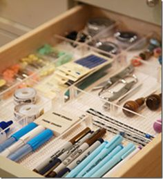 I love these clear acrylic drawer dividers because they reduce the visual clutter. Using a nonslip liner will prevent the boxes from moving when you open and close your drawers.