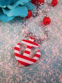 AHOY HOTTIE Red and White Nautical Anchor by IMPARTANDACCESSORIES, $17.95