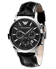 Emporio Armani Black Leather Strap AR2447 Watch
