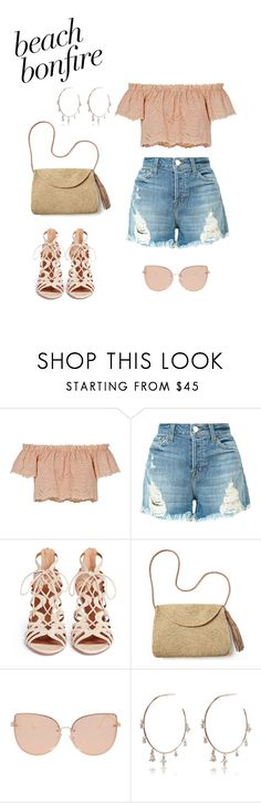 """Nö. 524 - Beach bonfire Contest"" by xandriana ❤ liked on Polyvore featuring LoveShackFancy, J Brand, Aquazzura, Mar y Sol, Topshop, Luv Aj, contestentry, summer2017 and beachbonfire"