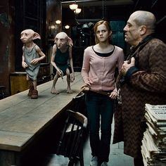 The director and visual effects team felt that the audience needed to have more of an emotional connection with Dobby and even Kreacher, so they changed the appearance of the house-elves to foster more intimacy with the characters. Kreacher had a makeover, reducing the size of his nose and trimming his ear hair, and Dobby's arms were shortened, his neck was smoothed out, and his eyes were reshaped to appear less saucerlike. #HarryPotter