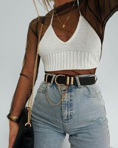 mesh top • knitted crop • highwaisted jeans