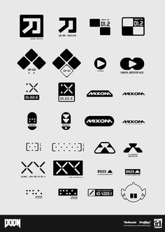"""""""Graphic designs created for DOOM. Logos, Typography Logo, Lettering, Graphic Design Posters, Graphic Design Typography, Branding Design, Cyberpunk, Exo, Posters Conception Graphique"""