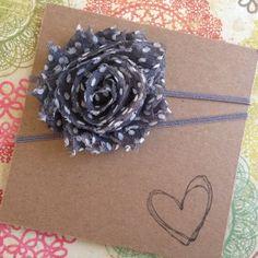 Gray Shabby Flower Headband w/ White Polka Dots by HipAndHail, $3.50