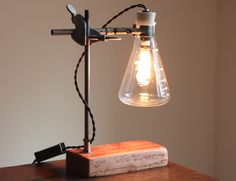 Industrial desk lamp Science steampunk table light cool chemistry gift laboratory science Erlenmeyer Flask with vintage-style Edison bulb by OBJECTSofINDUSTRY on Etsy https://www.etsy.com/listing/235846358/industrial-desk-lamp-science-steampunk