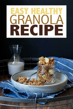 Who knew granola could be so easy to make? This vegan granola recipe is healthy, gluten-free and can be used in so many ways! Perfect to have on hand. #vegansnacks #easyveganrecipes
