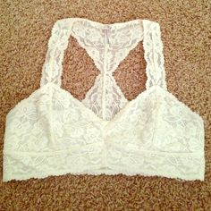 Free People Galloon Lace Bralette Free people ivory lace bralette, size large. Bought from another posher, sadly too big for me(I'm size 34D). In like new condition! Free People Intimates & Sleepwear Bras