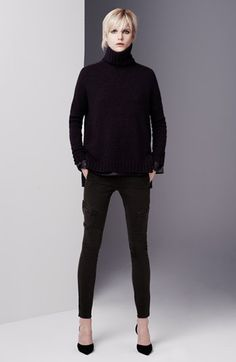 Vince Turtleneck, Stretch Silk Top & Skinny Jeans  available at #Nordstrom