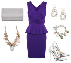 Outfit Ideas - What to Wear with a purple peplum dress. Paired with silver jewelry and accessories.