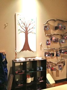 There were some wonderful ideas for incorporating the families' presence in the classroom environment at Rosa Parks Preschool. I think it is so comforting and homey for the children to see their families displayed in the classroom. It makes a strong statement of mutual support and commitment to the child. Family Tree: A simple tree …
