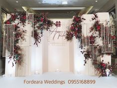 icu ~ To cover up the back drop off the church Wedding Backdrop Design, Wedding Stage Design, Wedding Reception Backdrop, Wedding Stage Decorations, Backdrop Decorations, Flower Decorations, Wall Backdrops, Wedding Table Deco, Wedding Mood Board