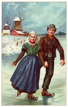 Dutch couple ice skating