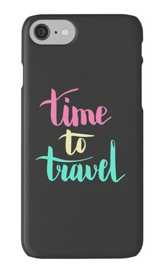 """Time to travel. Colorful text on dark background."" iPhone Cases & Skins by kakapostudio 